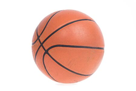 nba: Old basketball basket ball isolate on over white background