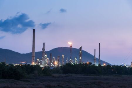 refiner�a de petr�leo: Oil refinery in morning day sunrise, Petroleum, petrochemical plant