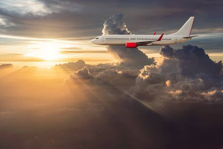 airliner: Airplane in the cloudy sky, Airliner, aircraft Stock Photo
