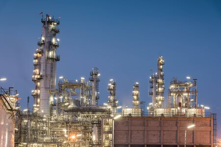 Oil Refinery factory at sunset, Petroleum, petrochemical plant