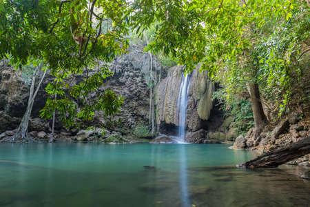 kanchanaburi: Waterfall erawan with rock Kanchanaburi of Thailand
