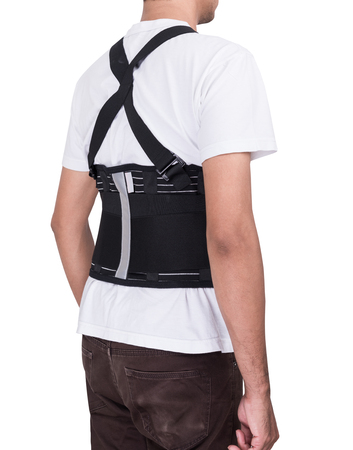 Worker man wear back support belts isolate ob white background