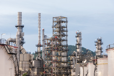 Petrochemical, oil refinery plant with blue sky at day time