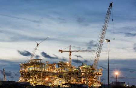 construction sit of oil refinery for use on the sea Stock Photo