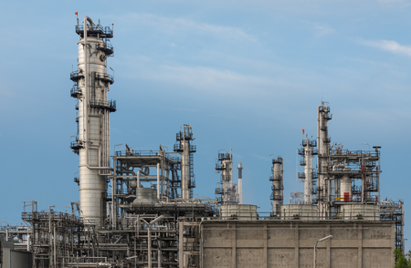 petrolium: Petrochemical, oil refinery plant with blue sky at day time