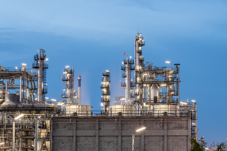 Oil Refinery factory, petrochemical plant, Petroleum at dark