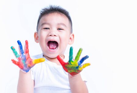 Happy asian little baby boy show hand he have water color or finger paint on hands the photogarphy in studio on with background, Baby 2-3 years
