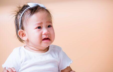 Asian child baby sad cry, face is sadness unhappy Stockfoto