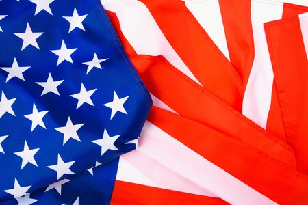 Martin luther king day, flat lay top view, American flag background with copy space for your text Stock Photo
