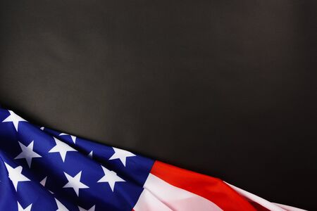 Martin luther king day, flat lay top view, American flag democracy on black background with copy space for your text