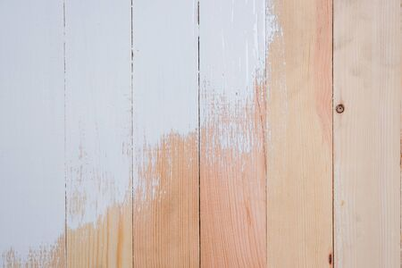 Top view of white paint on wooden pallet texture for copy space background