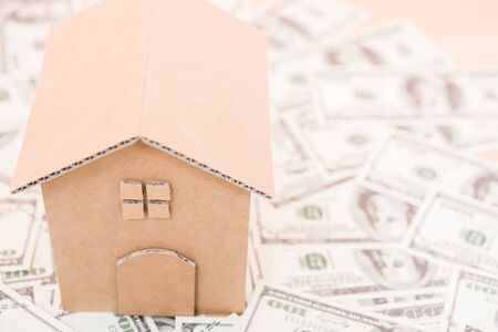 House cardboard model on dollar money, currency money concept