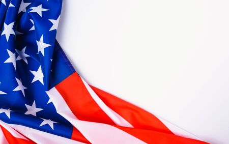 Martin luther king day, flat lay top view, American flag on white background with copy space for your text Stock fotó