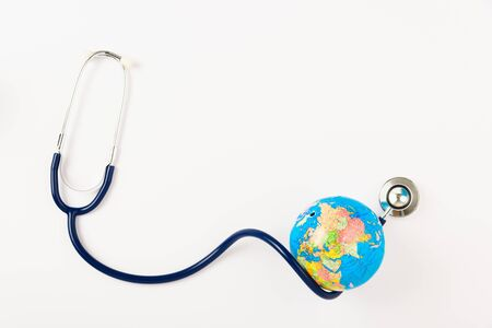 World health day concept, Stethoscope and globe on white background with copy space. Global health care