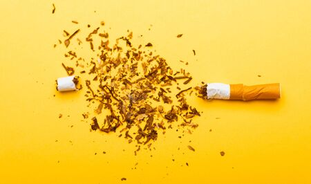 31 May of World No Tobacco Day, no smoking, close up of broken pile cigarette or tobacco STOP symbolic on yellow background with copy space, and Warning lung health concept