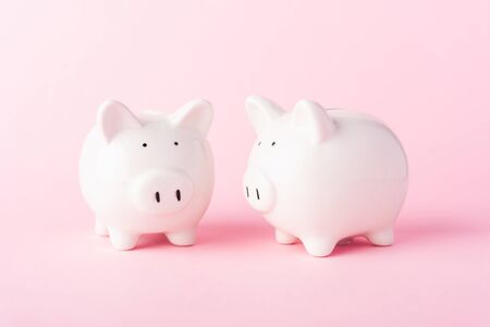 International Friendship Day, Front two small white fat piggy bank, studio shot isolated on pink background and copy space for use, Finance, deposit saving money concept