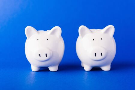 International Friendship Day, Front two small white fat piggy bank, studio shot isolated on dark blue background and copy space for use, Finance, deposit saving money concept Stockfoto