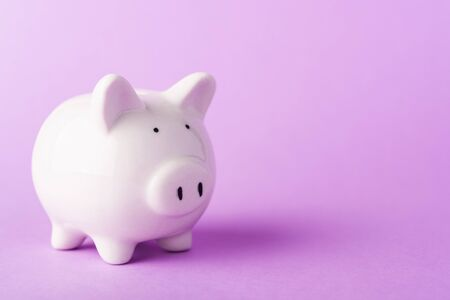 Front small white fat piggy bank, studio shot isolated on purple background and copy space for use, Finance, deposit saving money concept