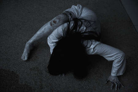 Woman ghost horror creepy her is crawling, halloween concept