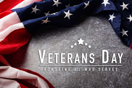 America United States flag, memorial remembrance and thank you of hero, studio shot with copy space concrete board background, USA holiday Veterans or Independence day concept Stock Photo