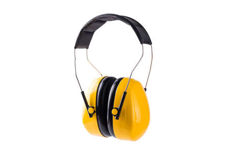 Yellow working protective headphones Ear muffs prevent loud noise from working construction equipment safety, studio shot isolated on over white background Hearing protection