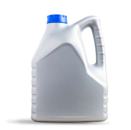 Gray plastic canister machine lubricating oil gallon bottle 4 liters with a blue cap for machine engine car isolated on over white background