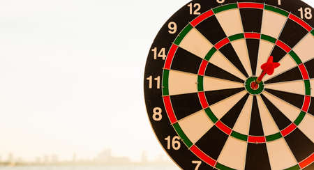 Dart arrow hitting to center on bullseye (bull's-eye) dartboard is the target of purpose challenge business at sunset, expert marketing strategy target, objective financial and goal success