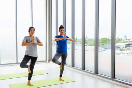 Two Asian women sporty attractive people practicing yoga lesson together, working out at the fitness GYM, Young and senior female exercising do yoga in yoga classes, sport healthy lifestyle