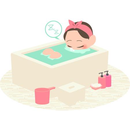 Women sleeping in bath