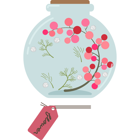 Illustration of a Herbarium (round, pink)  イラスト・ベクター素材