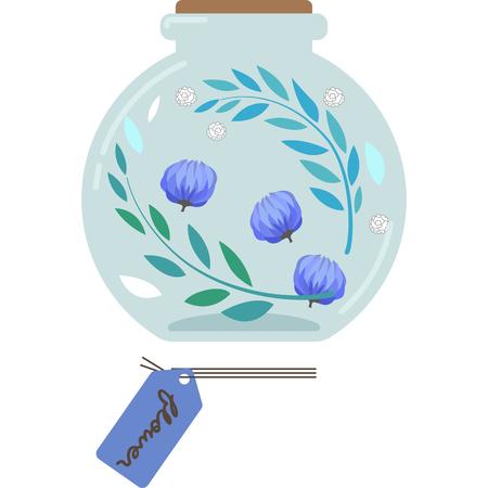 Illustration of a Herbarium (round, blue)