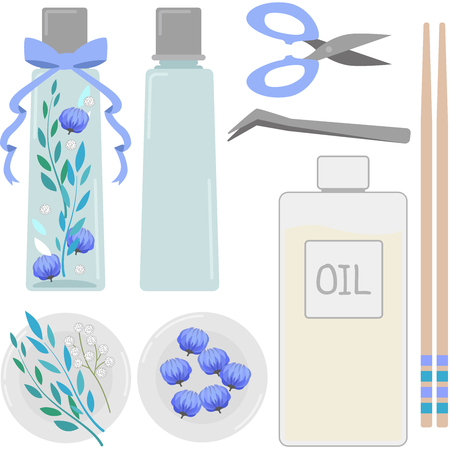 Herbarium illustration set (rectangular bottle Kit-blue)