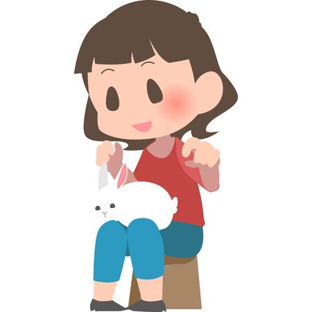 Women put the rabbit onto the knee