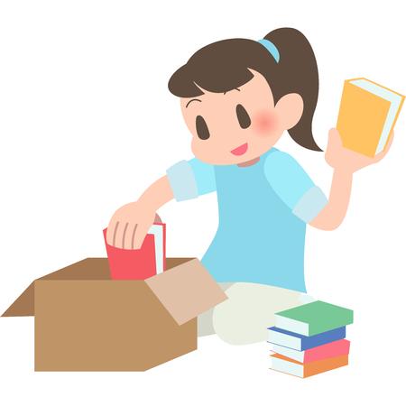 Women packing books