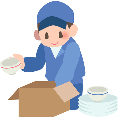 Packing kitchen workers  イラスト・ベクター素材