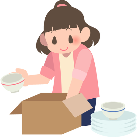 Women packing of crockery