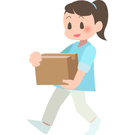 women carry the Cardboard box  イラスト・ベクター素材