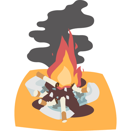 Broken ashtray and fire Illustration