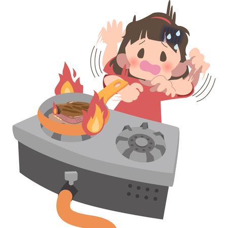 Women aware of fire and panic
