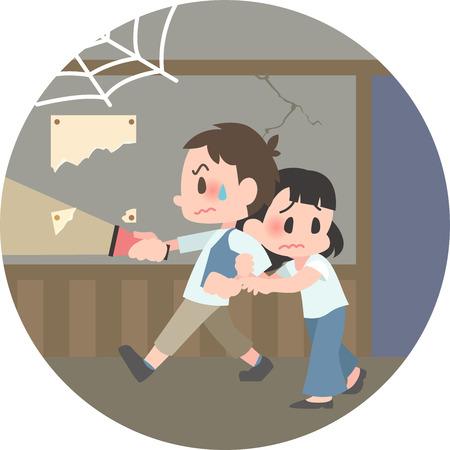 The Kimodameshi duo  イラスト・ベクター素材