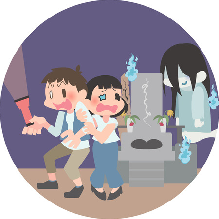 Duo surprise in ghosts  イラスト・ベクター素材