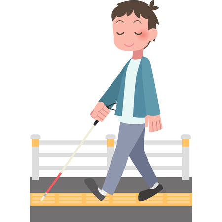 Men walk with a cane Stock Illustratie