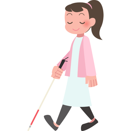 Women walk with a cane