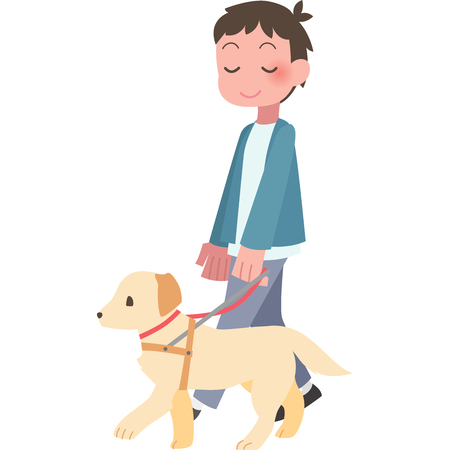 Man walking dog Illustration