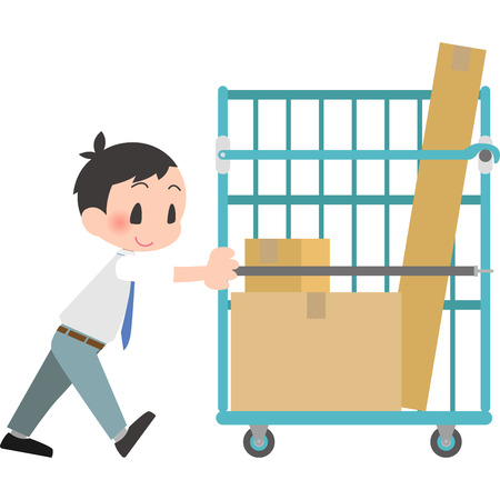 Male workers push the cart trolley Illustration