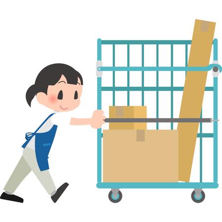 Female employees push the cart trolley Illustration