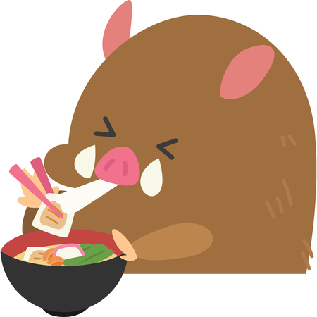 Wild boar eat a rice cake soup 스톡 콘텐츠 - 102461883