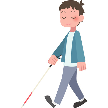 Men walk with a cane Illustration