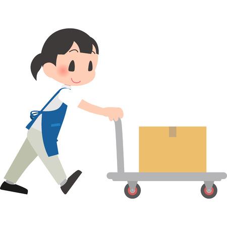 Female employees pushing carts Illustration