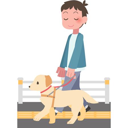 Man walking dog Illustration